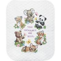 "34""X43"" - Baby Hugs Baby Animals Quilt Stamped Cross Stitch Kit"