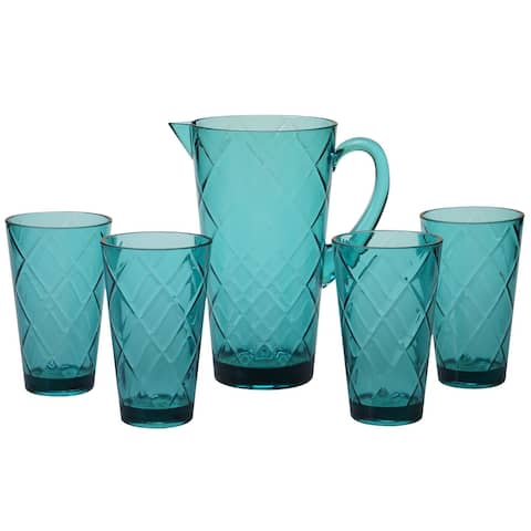 """5pc Teal Blue Contemporary Durable Drinkware Set 12"""""""