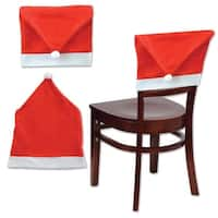 "Pack of 12 Red and White Christmas Santa Hat Chair Slip Covers  19"" x 25"""