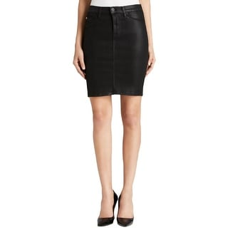 Hudson Womens Mattie Pencil Skirt Denim Coated