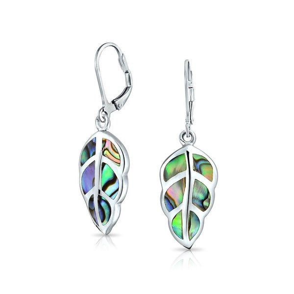 a6667c57a Shop Rainbow Abalone Shell Gemstone Nature Leaf Drop Dangle Leverback  Earrings For Women For Teen 925 Sterling Silver - On Sale - Free Shipping  Today ...