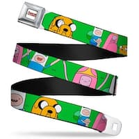 Adventure Time Logo White Full Color Princess Bubblegum Finn Jake On Grass Seatbelt Belt