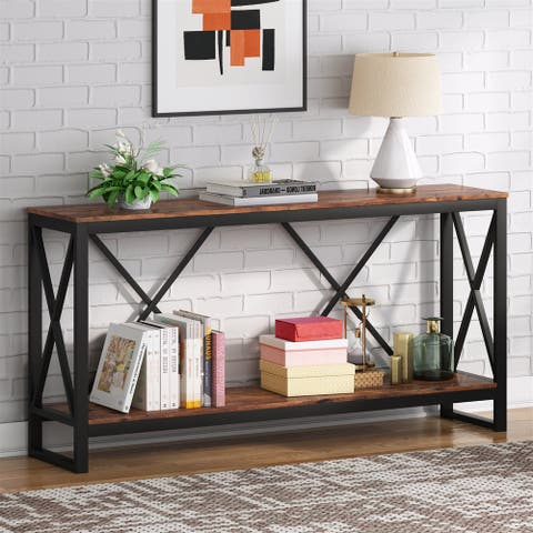"""70.9"""" Sofa Console Table Behind Couch , Industrial Narrow Long Entryway Table Hallway Console Table"""