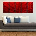 Statements2000 Red 5 Panel Contemporary Metal Wall Art by Jon Allen - Red Plumage - Thumbnail 1
