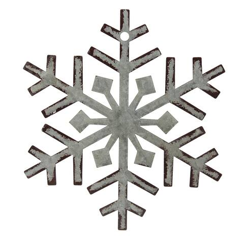 8 Galvanized Metal Weathered Snowflake Christmas Wall Decoration