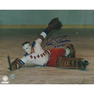 "Eddie Giacomin New York Rangers Autographed 8x10 Photo Inscribed ""HOF 87"" -Dive-"