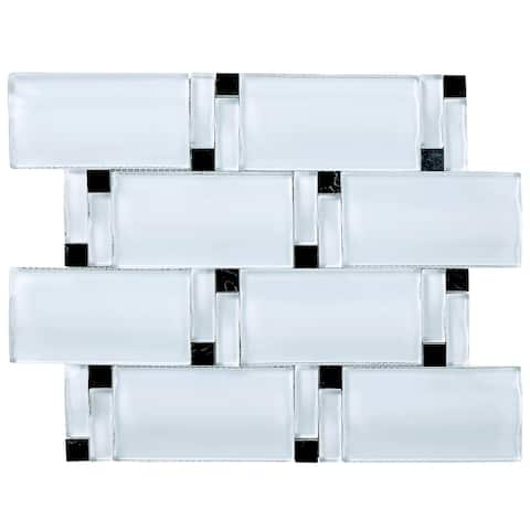 """TileGen. 3D Arched 2.5"""" x 4.5"""" Glass Mosaic Tile in White Wall Tile (10 sheets/8sqft.)"""