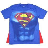 DC Comics Superman Shield Mens Royal Cape Tee