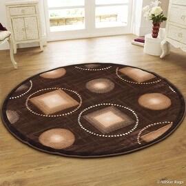 "Allstar Chocolate Round Abstract Modern Area Carpet Rug (4' 11"" x 4' 11"")"
