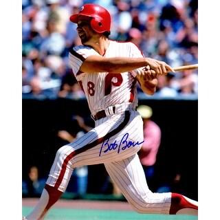 Bob Boone Philadelphia Phillies Swinging Action 8x10 Photo