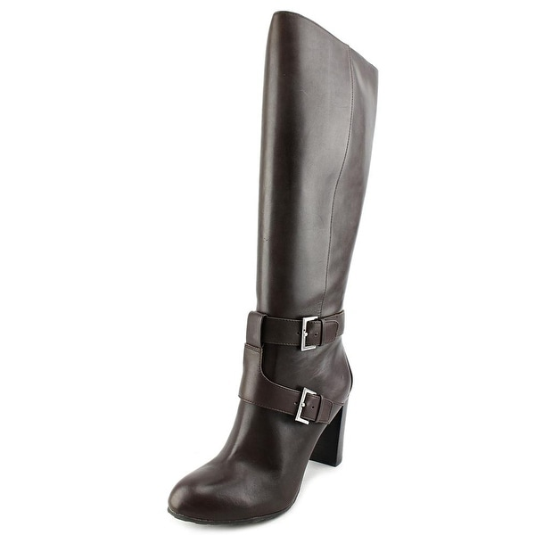 Nine West Skylight Wide Calf Women Round Toe Leather Brown Knee High Boot