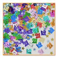 Pack of 6 Metallic Multi-Colored 21 & Star Celebration Confetti Bags 0.5 oz. - Multi