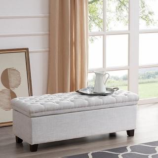 "BELLEZE 48"" Rectangular Laguna Tufted Ottoman Footrest Fabric Large Storage Bench, White"