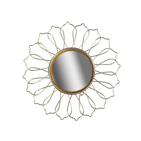 Circular Gold Wired Wall Mirror (dahlia)