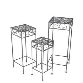 3 Piece Black Metal Nesting Square Plant Stand Set Filigree Tops