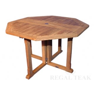 """48"""" Natural Teak Octagon Outdoor Patio Collapsible Dining Wooden Table"""