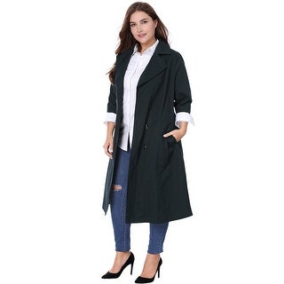 Allegra K Women's Plus Size Turn Down Collar 3/4 Sleeves Belted Long Trench Coat - Blue