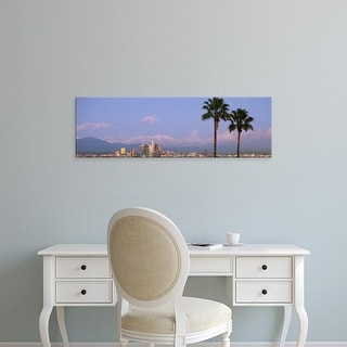 Easy Art Prints Panoramic Image 'Palm trees and skyscrapers in a city, City of Los Angeles, California' Canvas Art