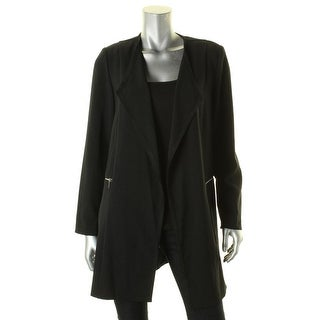 Tahari Womens Jacket Crepe Open Front Black 4