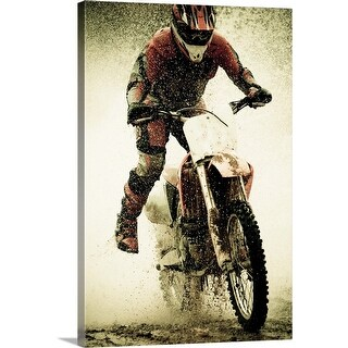 """Dirt bike rider splashes through water filled stream"" Canvas Wall Art"