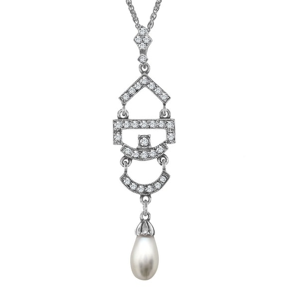 Van Kempen Simulated Pearl Pendant with Swarovski Crystals in Sterling Silver