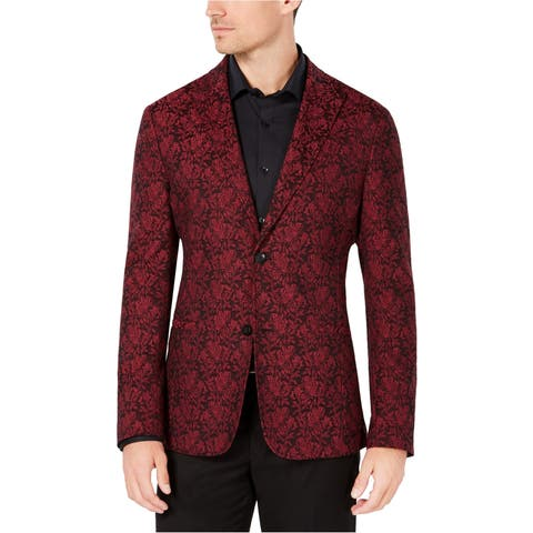 Ryan Seacrest Distinction Mens Jacquard Two Button Blazer Jacket