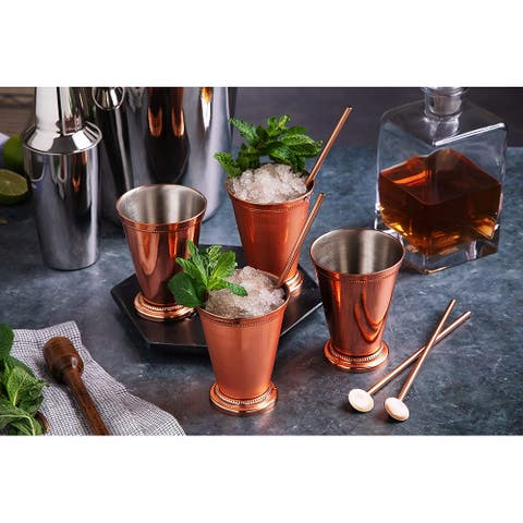 Mint Julep Cup Copper Bar Accessories Drinking Cups 12 oz - 8 Pieces - 4 Cups & 4 Straws