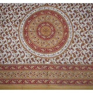 Handmade 100% Cotton Paisley Mandala Tablecloth Tapestry Coverlet Spread 64x90 Twin