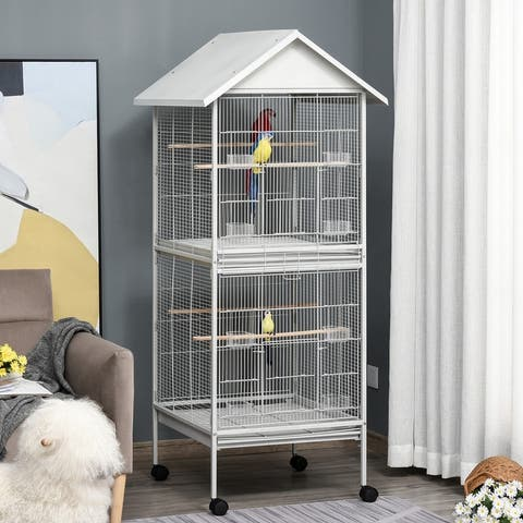 """PawHut Wrought Metal Bird Cage Feeder with Rolling Stand Perches Food Containers Doors Wheels 67"""" H, White"""