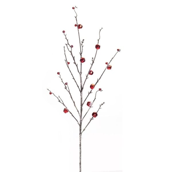 """Club Pack of 12 Decorative Icy Red Holiday Jingle Bell Artificial Branch 37.5"""" - brown"""