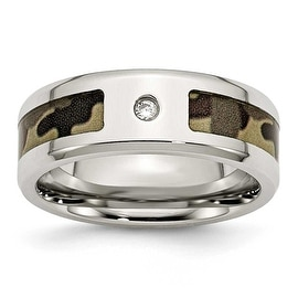 Chisel Stainless Steel Polished with CZ Brown Camouflage Band (8 mm)
