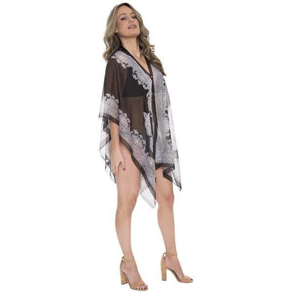 Shop Women Paisley Print Kimono Lightweight Sheer Chiffon Poncho Cover Up On Sale Overstock 20663889