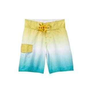 Azul Boys Yellow White Blue Ombre Drawstring Waist Board Shorts