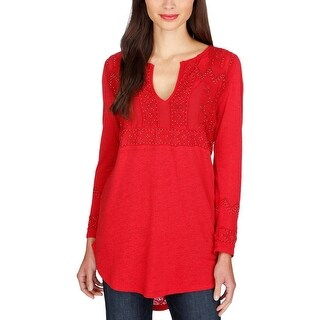 Lucky Brand Womens Blouse Linen Embellished