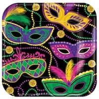7 x 7 in. Mardi Gras Masks Mardi Gras Paper Square Plates - Pack o