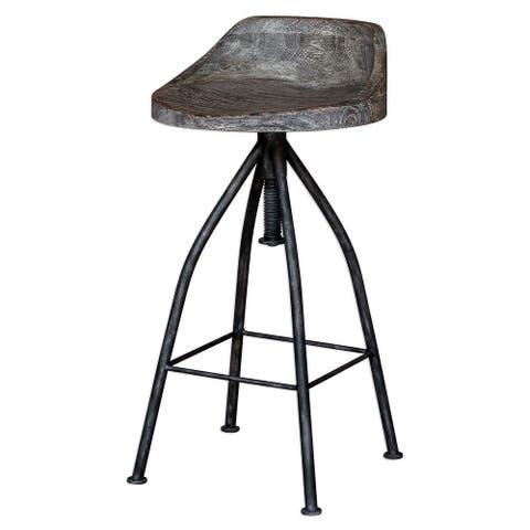 "Uttermost 25726 Kairu 16"" Wide Farmhouse Industrial Adjustable Counter - Grey Glaze"