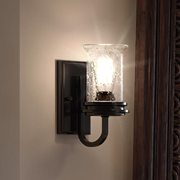 """Luxury French Country Bath Vanity Light, 9.5""""H x 4.75""""W, with English Country Style, Midnight Black, UHP3741 by Urban Ambiance. Opens flyout."""