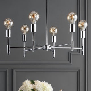 """Link to Turing 28.5"""" Adjustable Height Metal LED Pendant, Chrome by JONATHAN Y Similar Items in Pendant Lights"""