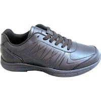 Genuine Grip Footwear Women's Slip-Resistant Athletic Work Shoes Black Leather