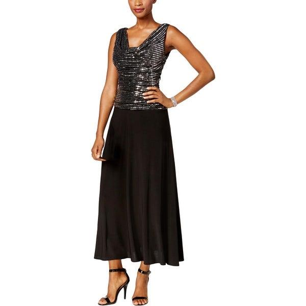 R&M Richards Womens Evening Dress Sequined Cowl Neck