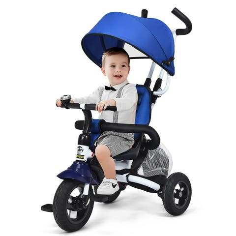Baby Tricycle 6-in-1 Foldable Steer Stroller Adjustable Canopy