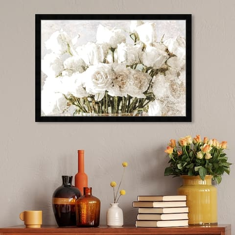 Oliver Gal 'Rose Gold Luxe Bouquet' Floral and Botanical Wall Art Framed Print Florals - White, Gold
