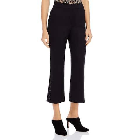 Donna Karan Womens Dress Pants Button Trim Flare - Black