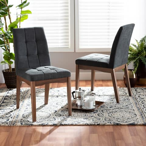 Tara Mid-Century Upholstered and Walnut Finished 2-PC Dining Chair Set