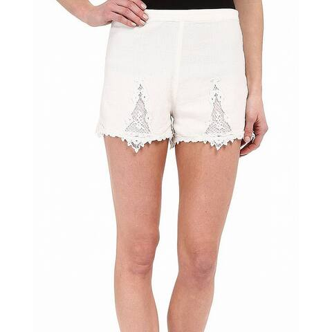 Volcom White Ivory Womens Size XS Lace-Inset Pull-On Casual Shorts