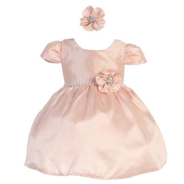 Baby Girls Blush Poly Shantung Glitter Waist Headband Flower Girl Dress
