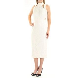 Womens Ivory Sleeveless Tea Length Sheath Formal Dress Size: 8