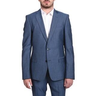 Verasce Collection Men Two-piece Wool Suit Pindot Light Blue