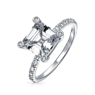 Bling Jewelry 925 Sterling Silver Deco Style Asscher Cut CZ Ring 2.9ct