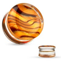 Amber Pattern Inlaid Clear Acrylic Saddle Plug (Sold Individually)